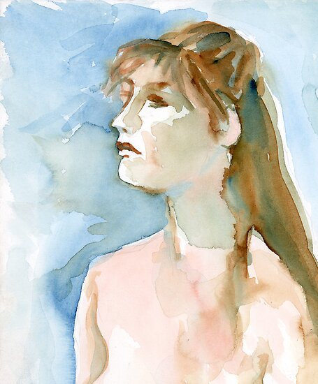 Watercolor Portrait by bluerabbit