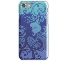 Wolf Floral in Blue iPhone Case/Skin