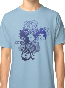 Wolf Floral in Blue Classic T-Shirt