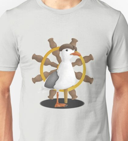 Pirate Seagull with Ship Wheel Unisex T-Shirt