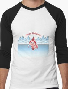 Happy Holidays! Winter Pig Men's Baseball ¾ T-Shirt