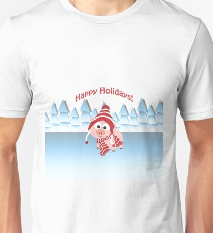 Happy Holidays! Winter Pig Unisex T-Shirt