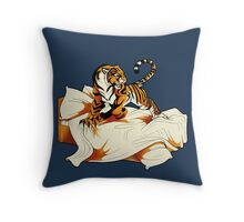 Tiger in Bed Throw Pillow
