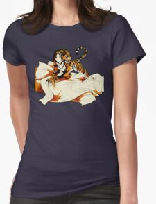 Tiger in Bed Womens Fitted T-Shirt