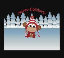Happy Holidays! Winter Monkey Kids Tee