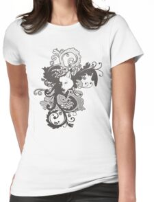 Wolf Floral in Grey Womens Fitted T-Shirt