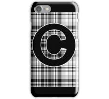 Monogrammed Black and White Plaid iPhone Case/Skin