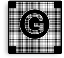 Monogrammed Black and White Plaid Canvas Print