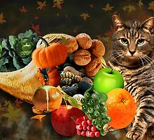 TABBY CAT WITH HORN OF PLENTY FALL PICTURE AND OR CARD by ✿✿ Bonita ✿✿ ђєℓℓσ