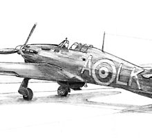 87 sqdn Hurricane mk2c in pencil by Woodie