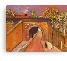 Roadway with underpass (from my original acrylic painting) Canvas Print