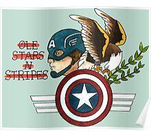 Captain America Tattoo Flash Poster