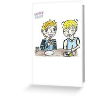Red Vs Blue Pastry Train- Breakfast Greeting Card