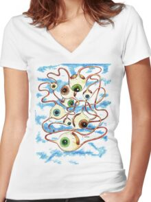 Flying Eyes Women's Fitted V-Neck T-Shirt