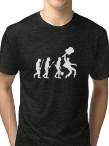 EVOLUTION OF ROCK on dark tee Tri-blend T-Shirt