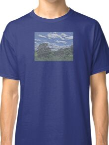 Unique Etched Texture Style Tree Filled Landscape and Clouds Classic T-Shirt