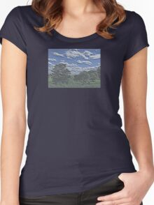 Unique Etched Texture Style Tree Filled Landscape and Clouds Women's Fitted Scoop T-Shirt