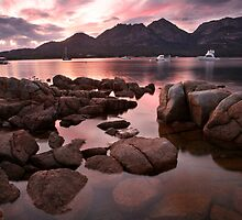 """New day dawns over """"The Hazards"""", Coles Bay, Tasmania by Michael Boniwell"""