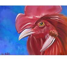 Here Comes the Rooster - Digital Paint of a Red Rooster Photographic Print