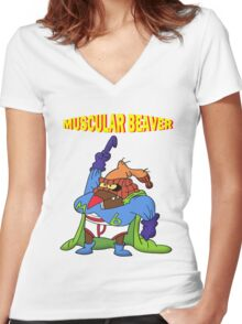 Muscular Beaver Women's Fitted V-Neck T-Shirt