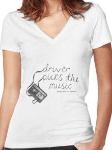 Driver Picks The Music Shotgun Shuts His Cakehole Women's Fitted V-Neck T-Shirt