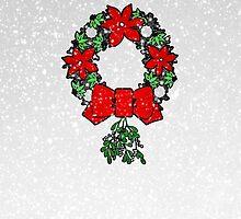 Tri Christmas Wreath by FuglyManorArt