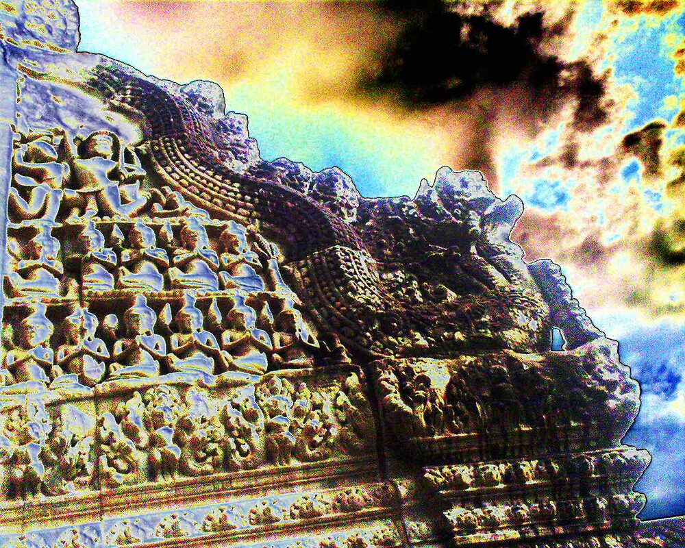 Angkor Sculpture and Sky by liqwidrok