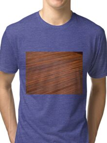 Beautiful mahogny hardwood deck floor Tri-blend T-Shirt