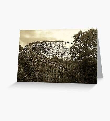 wooden roller coaster Greeting Card