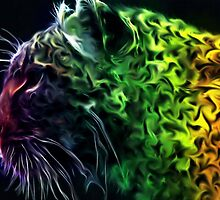 Abstract Neon Rainbow Cheetah Cat Wildlife by druidwolfart