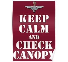 KEEP CALM AND CHECK CANOPY - PARACHUTE REGIMENT Poster