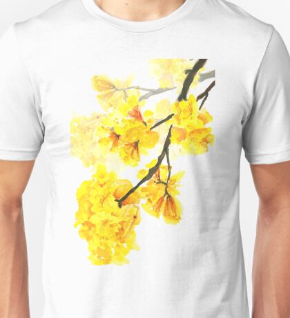 Yellow trumpet flowers watercolor painting  Unisex T-Shirt