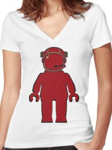 Banksy Style Astronaut Minifigure Women's Fitted V-Neck T-Shirt
