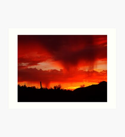 Desert Rain at Sunset Art Print