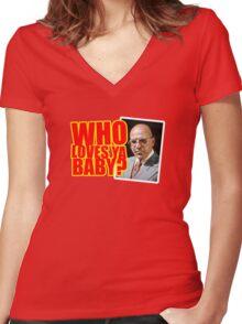 "Kojak - ""Who's Loves Ya?"" Women's Fitted V-Neck T-Shirt"