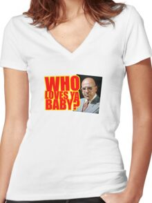 "Kojak - ""Who's Loves Ya?"" Women's Fitted V-Neck T-Shirt"