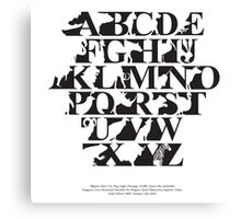 Alphabet zoo black and white Canvas Print