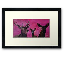 Winters Deer Family with Fawn and Hind Framed Print