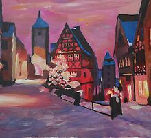 Romantic Rothenburg Tauber Germany Winter Dream Land by artshop77