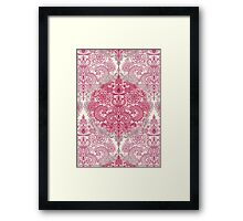 Happy Place Doodle in Berry Pink, Cream & Mauve Framed Print