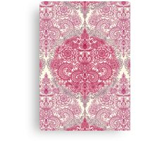 Happy Place Doodle in Berry Pink, Cream & Mauve Canvas Print