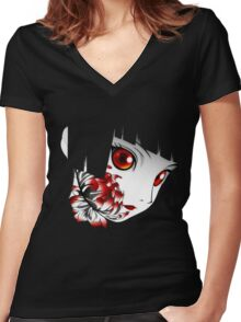 The Dark Flower Girl Women's Fitted V-Neck T-Shirt