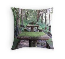 Picnic Tables at Paronella Park Queensland Throw Pillow