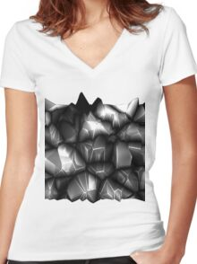 Gray spikes Women's Fitted V-Neck T-Shirt