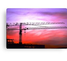 Cranes in the sunset Canvas Print