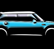 MINI CAR, BLUE, BMW, BRITISH ICON, MOTORCAR by TOM HILL - Designer