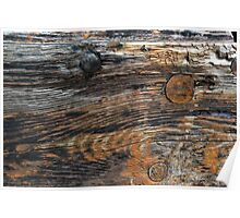 Aged rough wood background Poster