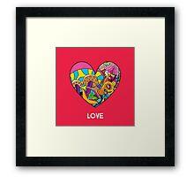 Magic mushroom pattern hippie heart  Framed Print