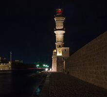 Chania Lighthouse at Night by stratiSphere