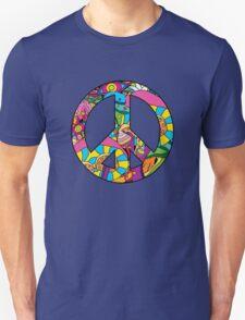 Magic mushroom pattern hippie peace symbol  Unisex T-Shirt